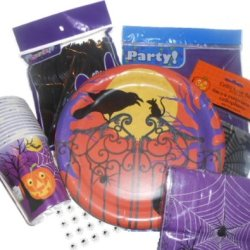 Halloween Party Supplies -Plates, Napkins & Cups. Plastic Silverware, Tablecover, Goodie Bags & Candy Favor Labels