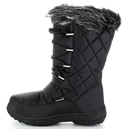 Textile & Faux Fur Upper. Four Eyelet Lace Up Boot. Quilted and Padded Upper. Faux Fur Collar Trim. Thick Tread to help with resistance.