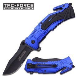 "3.25"" ""Navy"" Heavy Duty Spring Assisted Tactical Rescue Knife - Blue"