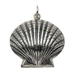 Sterling Silver Clam Shell Locket Pendant