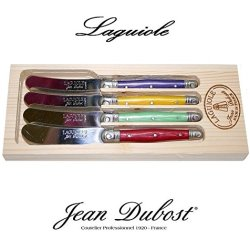 French Laguiole Dubost - Set Of 4 Butter Knives - Multi Rainbow Colors : Red - Yellow - Mint Green - Purple (Stainless Steel Lemmet - Genuine Quality Family Dinner Colour Table Flatware/Cutlery Spreaders Setting - Each Knife: 6 Inches - Direct From France
