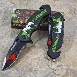 Z Hunter Assisted Opening Outdoor Hunting Tactical Rescue Pocket Zombie Design Knife - Black