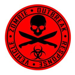Auto Vynamics - Zorv-Machetes-20Bg-Gblared - Gloss Black & Red 2-Color Vinyl Zombie Outbreak Response Vehicle (Zorv) Decal - Crossed Machetes Design - Single Decal - (1) Piece Kit - 21-By-21-Inches