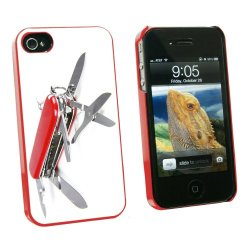 Graphics And More Multi-Function Knife Screwdriver - Snap On Hard Protective Case For Apple Iphone 4 4S - Red - Carrying Case - Non-Retail Packaging - Red
