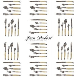 French Laguiole Dubost - Horn - Complete Flatware Set For 12 People (60 Pcs) - In Heavier 25/10 Stainless Steel (Official Color Full Family Quality Cutlery Dinner Setting - Direct From France)