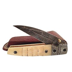 Damascus Steel Blade Folding Knife With Solid Off White Color Plastic Handle