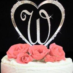Raebella Weddings Sparkling Silver Fully Covered Swarovski Crystal Letter Single Initial & French Flower Accent Heart Cake Topper Keepsake Set