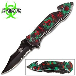 "Zombie Assisted Open Rescue Folding Knife Walking Dead 4.5"" Closed Green"