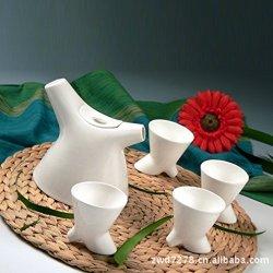 Granvela Tea Sets Tea Cups Pure Bone China Lotus Shape Designed Artworks A Pot Of 4 Cups