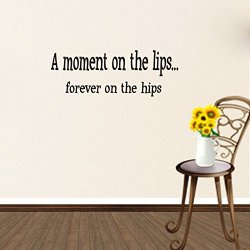 Top-Me A Moment On The Lips Forever On The Hips Kitchen Food Eating Wall Quote Decal Tm8279