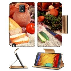 Cucumber Bread Tomato Baked Goods Herbs Knife Samsung Galaxy Note 3 N9000 Flip Case Stand Magnetic Cover Open Ports Customized Made To Order Support Ready Premium Deluxe Pu Leather 5 15/16 Inch (150Mm) X 3 1/2 Inch (89Mm) X 9/16 Inch (14Mm) Liil Note Cove