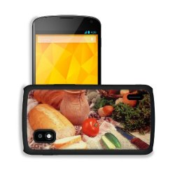Cucumber Bread Tomato Baked Goods Herbs Knife Google Nexus 4 Mako Snap Cover Case Premium Leather Customized Made To Order Support Ready 5 3/16 Inch (132Mm) X 2 13/16 Inch (72Mm) X 4/8 Inch (12Mm) Liil Nexus_4 Professional Cases Touch Accessories Graphic