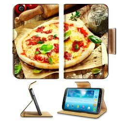 Pizza Dish Food Spices Tomatoes Cheese Dough Knife Fork Samsung Galaxy Tab 3 8.0 Flip Case Stand Magnetic Cover Open Ports Customized Made To Order Support Ready Premium Deluxe Pu Leather 8 7/16 Inch (215Mm) X 5 6/8 Inch (145Mm) X 11/16 Inch (17Mm) Liil G