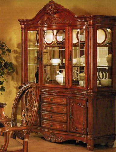 Image of China Cabinet Buffet Hutch - Traditional Cherry Brown Finish (VF_F6059)