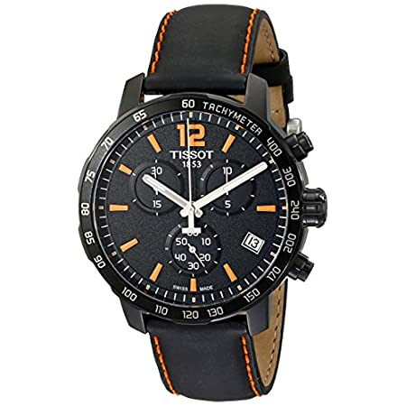 Tissot Quickster watch with a bold black chronograph dial featuring orange markers on a black plated stainless steel case; matched perfectly with a black leather strap with orange stitching.