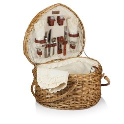 Picnic Time 329-35-190 Heart Basket - Willow With Cream Lining