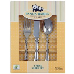 Ginkgo International Panda-Babies 3-Piece Child Stainless Steel Flatware Set