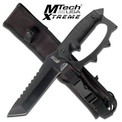 Mx-8067. Full Tang Knuckle Handle Tactical Combat Fighter Knife Full Tang Knuckle Handle Tactical Combat Fighter Knife With Sheath. 12 Inch Overall Fixed Blade Knife. 4.5Mm Thick Stainless Steel Black Finish Blade. Features G10 Handle And The Glass Breake