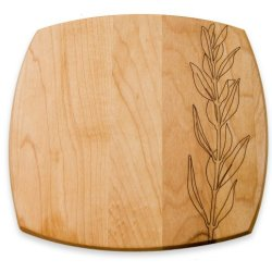 J.K. Adams 7-Inch Square Engraved Maple Wood Plate, Olive Branch