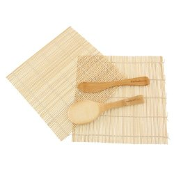 Bamboomn Brand - Sushi Rolling Kit - 2X Rolling Mats, 1X Rice Paddle, 1X Spreader - Natural