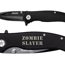 Zombie Slayer Text 2L Engraved Tac-Force Tf-420Bk Black Speedster Assisted Opening Folding Pocket Knife By Ndz Performance
