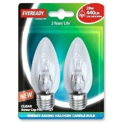 Eveready Lighting Candle Eco Halogen 28 Watt (40 Watt) Es/E27 Edison Screw Card Of 2 Eves4875