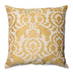 "18"" Babar Elegance Topaz Yellow Decorative Throw Pillow"