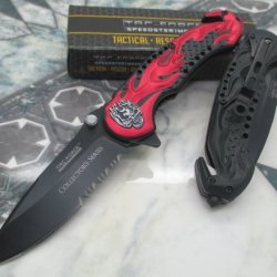 "New Tac Force Assisted Opening Rescue Glass Breaker Red Flaming ""Ghost Rider"" Collecter'S Series Skeleton "" Design For Hunting Or Camping Tatical Pocket Knife"