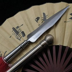 Damascus Steel Handmade Spear Blades/Stainless Steel Rod/Martial Arts Lance Sale
