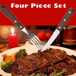 Restaurant Quality 4 Piece Steak Knife And Fork Set With Wood Handles And Stainless Steel Blades.