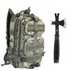 "Ultimate Arms Gear Surviaval Combo: 13"" Tactical 3 In 1 Mulit-Use Emergency Supply Tool Chop Hatchet Axe + Flat Head Hammer + Wrecking Ripping Pry Bar With Rubberized Grip Handle + Taccam Camouflage Compact Level 3 Full Featured Assault Pack Backpack 3 Da"