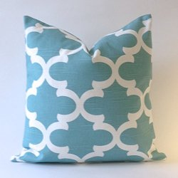 Set Of 2 - Flynn Lattice Design Decorative Throw Pillows Covers -Medium Weight Cotton Print- Invisible Zipper Closure (Teal/White, 16X16 Pillow Cover Only)