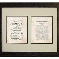 "Knife Patent Art Old Look Print In A Rustic Oak Wood Frame (16"" X 20"")"