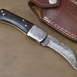 Handmade Damascus Steel Folding Pocket Knife (Liner Lock) Gi-68