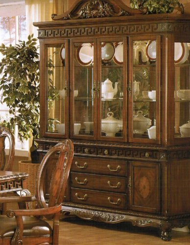 Image of China Cabinet Buffet Hutch - Medium Brown Finish (VF_F6074)