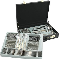Sterlingcraft High-Quality, Heavy-Gauge Stainless Steel 72Pc Flatware And Hostess Set With Gold Trim