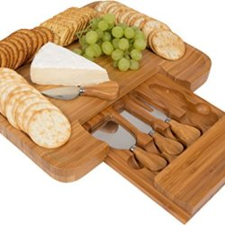 Bamboo Cheese Board And Tools Set - By Trademark Innovations