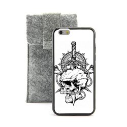 "Casecityliu - Evil Eye On The Knife Skull Pattern Design Black Bumper Plastic+Tpu Case Cover For Apple Iphone 6 6Th 6Generation 4.7"" Inch Come With Free Non Woven Packing Bag"