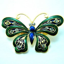 Butterfly Brooch/Pin Beautiful Emerald 2.5""