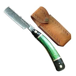 Shadow Straight Razors Damascus Steel Blade Wood And Horn Handle