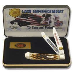 Case Cutlery Cat-Le Case'S Law Enforcement Handle Trapper Pocket Knife With Tru Sharp Surgical Steel Blades, Amber