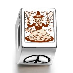 Fervent Love Thanksgiving Turkey Man With Fork Knife Photo Peace Symbol European Charm Bead