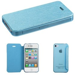Mybat Silk Texture Myjacket With Transparent Frosted Tray Case For Iphone 4S/4 - Retail Packaging - Blue