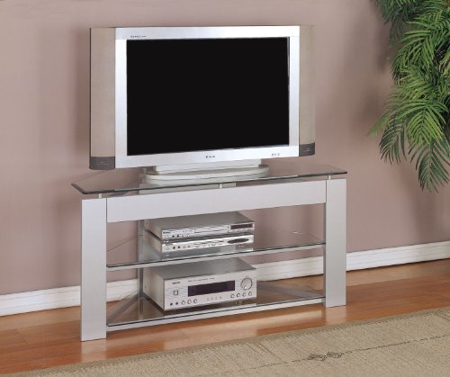Image of Glossy Silver TV Stand (968-802)