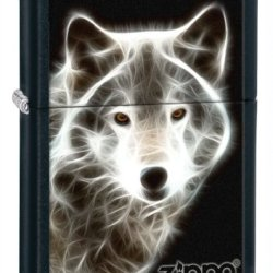 Zippo Black Matte White Wolf Lighter