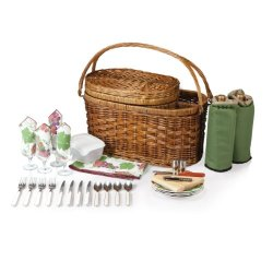 Picnic Time Merlot Deluxe Picnic Basket With Service For 4