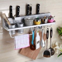 Multi-Functional Kitchen Storage Shelf Knife Fork Seasoning Rack Wall Shelf