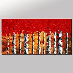 Original Art Abstract Flower Tree Painting Large Painting Vivid Color Acrylic Painting Original Contemporary Artwork Impasto Texture Palette Knife Impressionism Wall Art Fine Art Signed Handmade By Artist