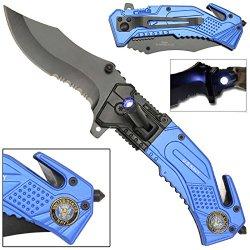 Led Flashlight Tactical Rescue Pocket Knife Us Navy