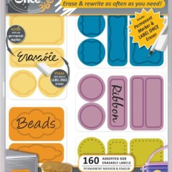 Jokari Label Once Crafts And More Erasable Labels Kit With 160 Labels, Eraser And Pen